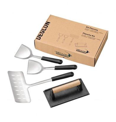 Deglon Kit Plancha | 4 Ustensiles Deglon | Inox et Fonte