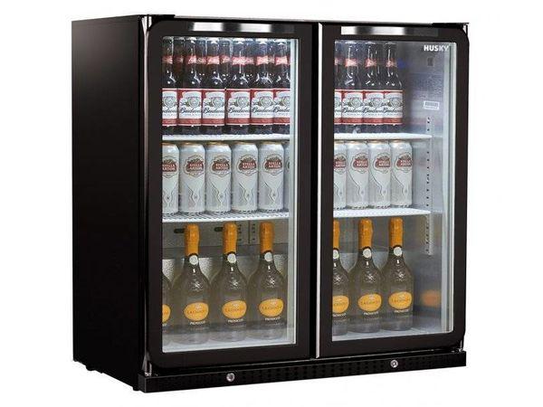 Husky Arrière-Bar   Portes Doubles   Noir   Subzero   180L   Eclairage LED   865x495x865(h)mm