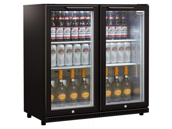 Husky Arrière-Bar | Portes Doubles | Noir | 186L | Eclairage LED | 865x520x865(h)mm