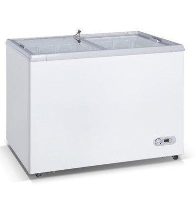 Exquisit Réfrigérateur / Congélateur | Blanc | 300L | -20°C à +5°C | Vitre Coulissante | 1080x680x832(h)mm