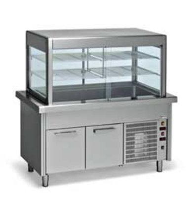 Diamond Elément cuve et vitrine Réfrigérée sur armoire Réfrigérée | 4 x 1/1 GN | 1500x800x(h)1600mm | 1,2 kW
