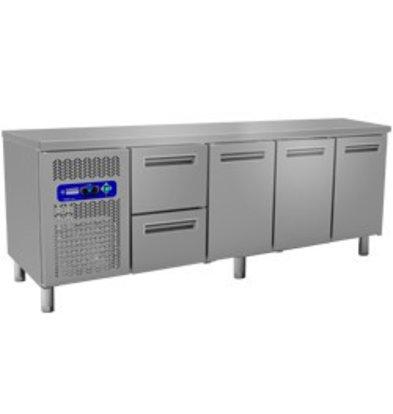 Diamond Comptoir Réfrigéré | 2 Tiroirs + 3 Portes | 225x70x(h)88/90cm | 550 Litres