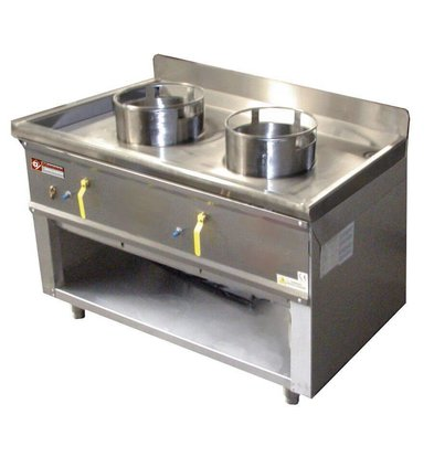 Diamond Fourneau wok 2 brûleurs  armoire ouverte | 23kW
