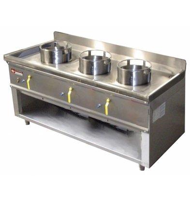 Diamond Fourneau wok 3 brûleurs  armoire ouverte | 23kW