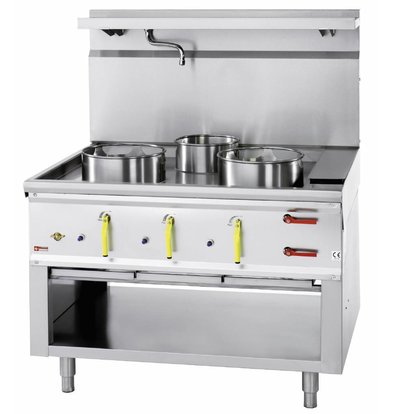 Diamond Fourneau wok 3 brûleurs avec rideau d'eau | 2 x 23kW + 1 x 11kW