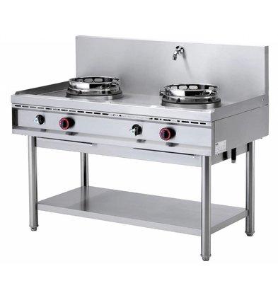 Diamond Fourneau wok 2 brûleurs avec rideau d'eau | 2 x 15kW