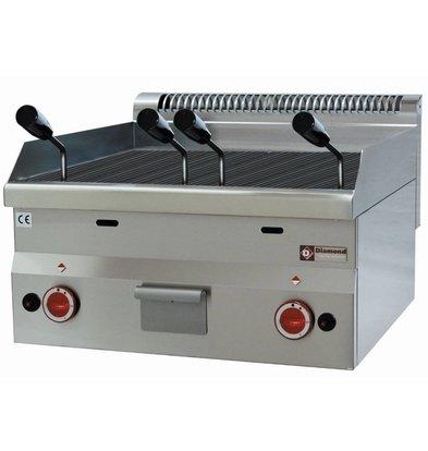 Diamond Grill pierre de lave gaz inox | Top | avec grille de cuisson en fonte | 60x60x(h)28/40cm | 7.7kW