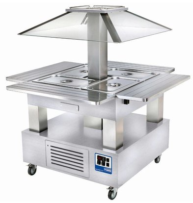 Diamond Ilot buffet - Salad bar, Réfrigéré, 4x GN1/1-150 (Bois Blanc)
