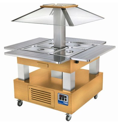 Diamond Ilot buffet - Salad bar, Réfrigéré, 4x GN1/1-150 (Bois Chêne clair)