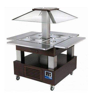 Diamond Ilot buffet - Salad bar, Réfrigéré, 4x GN1/1-150 (Bois Wengé)
