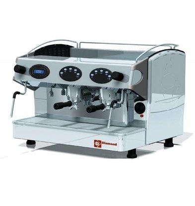 Diamond Machine à café expresso 2 groupes  | 2 Robinets vapeur | 1 Robinet d'eau chaude | 3,3kW | 677x580x(H)523mm