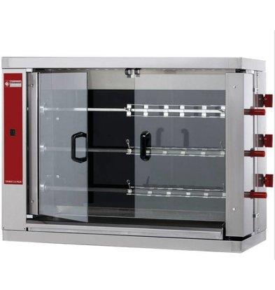 Diamond Rôtissoire électrique | vitrocéramique | 3 broches | 18 poulets | 14,4kW | 1098x480xh820mm