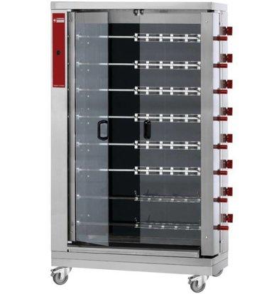 Diamond Rôtissoire électrique | vitrocéramique | 8 broches | 48 poulets | 1098x480xh1920mm | 38,4kW