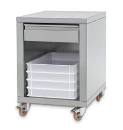 Diamond Support en inox + tiroir, sur roues, pour formeuses | 555x710x(h)800mm