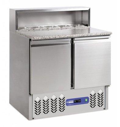 Diamond Comptoir de préparation | INOX | 2 portes GN 1/1 | structure Réfrigérée | 5x1/6GN | 90x70x(h)110cm