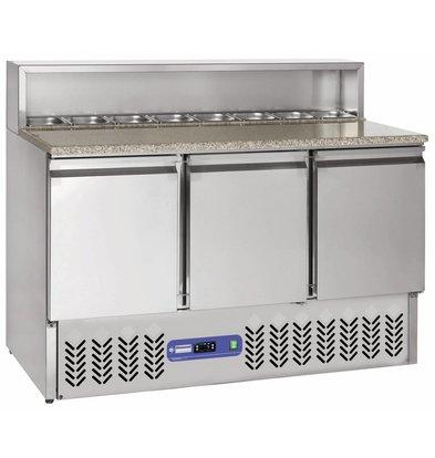 Diamond Comptoir de préparation | INOX | 3 portes GN 1/1 | structure Réfrigérée | 137x70x(h)110cm | 8 x 1/6 GN