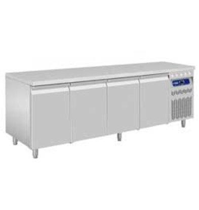 Diamond Comptoir Réfrigéré Ventilé | INOX | 4 Portes GN 1/1 | 2190x700x850/900(h)