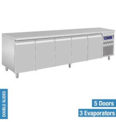 Diamond Comptoir Réfrigéré Ventilé   INOX   5 Portes GN 1/1   2625x700x(h)850/900mm