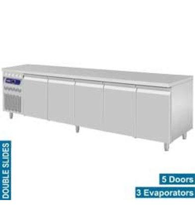 Diamond Comptoir Réfrigéré Ventilé   INOX   5 Portes GN 1/1   700 Litres   Groupe à Gauche   2625x700x850/900(h)mm