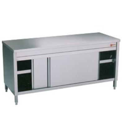 Diamond Comptoir Armoire neutre | INOX | 2 portes coulissantes | 1000x600x(h)900mm