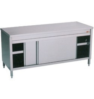 Diamond Comptoir Armoire neutre | INOX | 2 portes coulissantes | 1400x600x(h)900mm