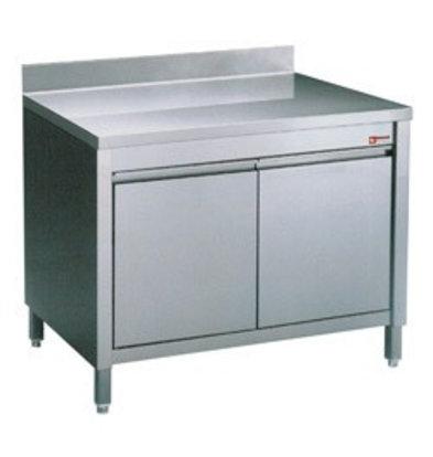 Diamond Comptoir Armoire neutre | INOX | avec 2 portes battantes | couvercle anti-éclaboussure | 600x700x(h)900mm