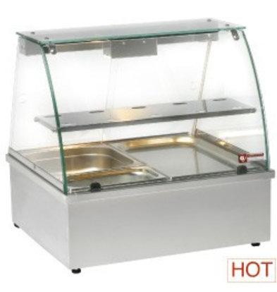 Diamond Vitrine chauffante, bain-marie | INOX | 1 Grille | 2 x GN 1/1 | 695x602x(h)680mm
