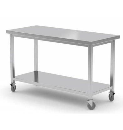 CHRselect Table de Travail | Inox | sur Roues | Etagère Basse | HEAVY DUTY | 1000(l)x600(p)mm | Choix de 7 Largeurs