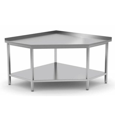 CHRselect Table de Travail d'Angle | INOX | Etagère Basse | Rebord | (l)900-1000mm | 600-900mm(p)