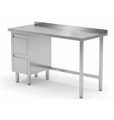 CHRselect Table de Travail | INOX | 2 Tiroirs (Gauche) | Rebord | 800(l)x600(p)mm | Choix de 12 Largeurs