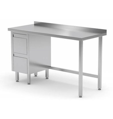 CHRselect Table de Travail | INOX | 2 Tiroirs (Gauche) | Rebord | 800(l)x700(p)mm | Choix de 12 Largeurs