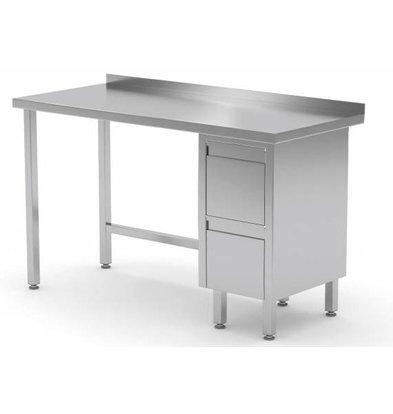 CHRselect Table de Travail | INOX | 2 Tiroirs (Droite) | Rebord | 800(l)x700(p)mm | Choix de 12 Largeurs