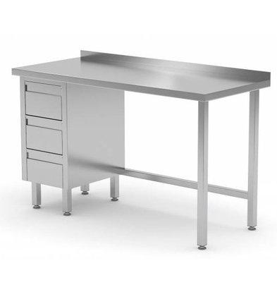 CHRselect Table de Travail | INOX | 3 Tiroirs (Gauche) | Rebord | 800(l)x600(p)mm | Choix de 12 Largeurs