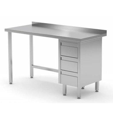CHRselect Table de Travail | INOX | 3 Tiroirs (Droite) | Rebord | 800(l)x600(p)mm | Choix de 12 Largeurs