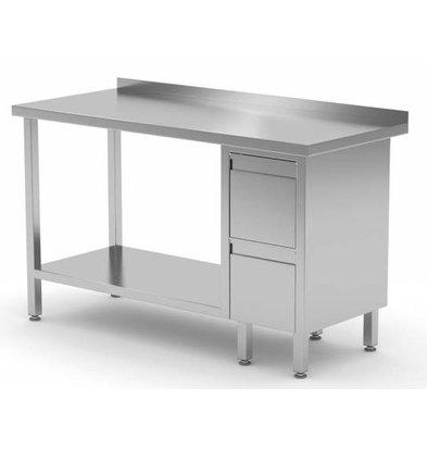 CHRselect Table de Travail | INOX | 2 Tiroirs | Etagère Basse | Rebord | 800(l)x600(p)mm | Choix de 12 Largeurs