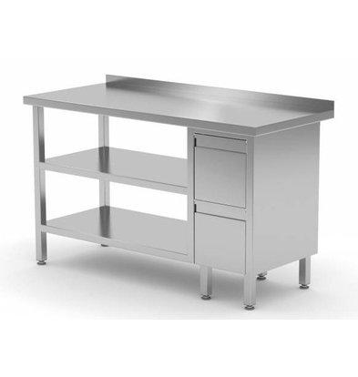CHRselect Table de Travail | INOX | 2 Tiroirs | 2x Etagère Basse | Rebord | 800(l)x600(p)mm | Choix de 12 Largeurs