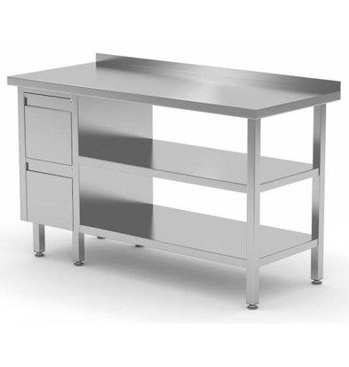 CHRselect Table de Travail | INOX | 2 Tiroirs | 2x Etagère Basse | Rebord | 800(l)x700(p)mm | Choix de 12 Largeurs