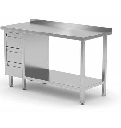 CHRselect Table de Travail | INOX | 3 Tiroirs (Gauche) | Etagère Basse | Rebord | 800(l)x700(p)mm | Choix de 12 Largeurs