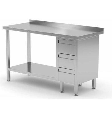 CHRselect Table de Travail | INOX | 3 Tiroirs (Droite) | Etagère Basse | 800(l)x600(p)mm | Choix de 12 Largeurs
