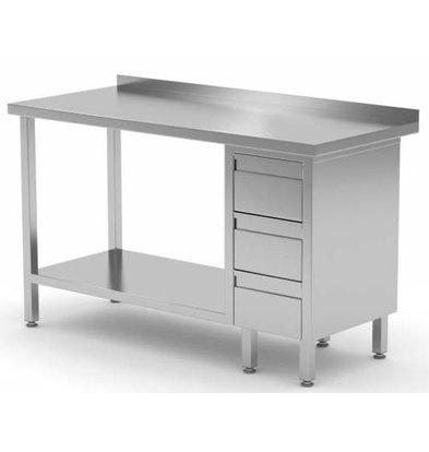 CHRselect Table de Travail | INOX | 3 Tiroirs (Droite) | Etagère Basse | 800(l)x700(p)mm | Choix de 12 Largeurs