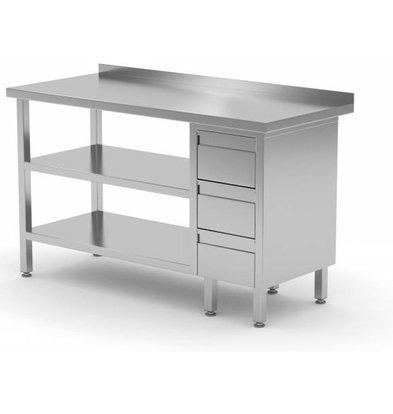 CHRselect Table de Travail | INOX | 3 Tiroirs | 2x Etagère Basse | 800(l)x600(p)mm | Choix de 12 Largeurs