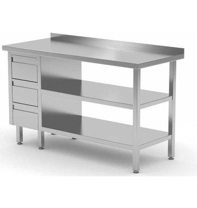 CHRselect Table de Travail | INOX | 3 Tiroirs | 2x Etagère Basse | Rebord | 800(l)x600(p)mm | Choix de 12 Largeurs