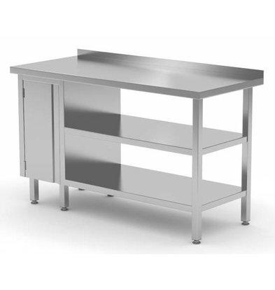CHRselect Table de Travail | INOX | 1 Porte Battante | 2x Etagère Basse | Rebord | 800(l)x600(p)mm | Choix de 12 Largeurs