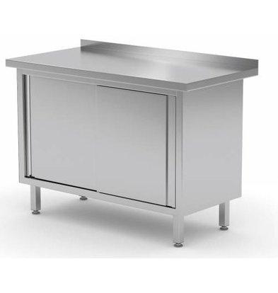 CHRselect Table de Travail | INOX | 2 Portes Coulissantes | Rebord | HEAVY DUTY | 800(l)x600(p)mm | Choix de 12 Largeurs