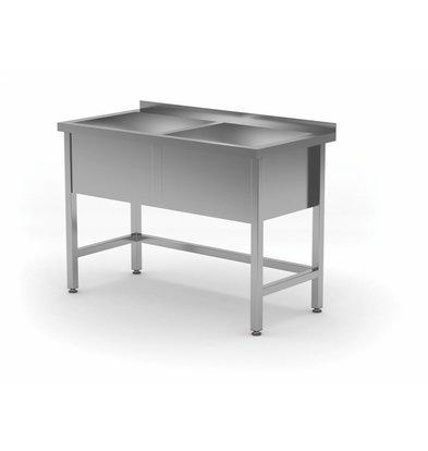 CHRselect Lavabo XL | INOX |2 Eviers 300(h)mm | HEAVY DUTY | 1200(l)x600(p)mm | Choix de 5 Largeurs