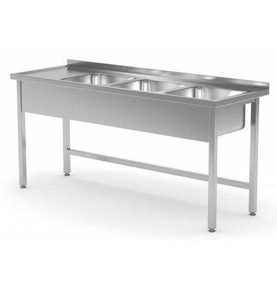 CHRselect Table Evier XXL | INOX | 3 Eviers | sur Base Ouverte | 1500(l)x600(p)mm | Choix de 5 Largeurs