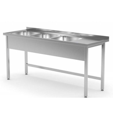 CHRselect Table Evier XXL | INOX | 3 Eviers XXL | sur Base Ouverte | 1500(l)x700(p)mm | Choix de 5 Largeurs