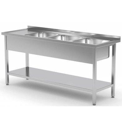 CHRselect Table Evier XXL | INOX | 3 Eviers XXL | Etagère Basse | 1500(l)x700(p)mm | Choix de 5 Largeurs