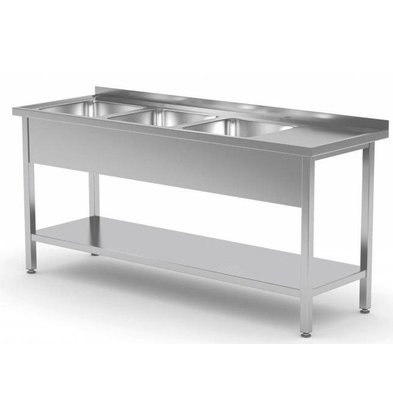 CHRselect Table Evier XXL | INOX | 3 Eviers | Etagère Basse | 1500(l)x600(p)mm | Choix de 5 Largeurs