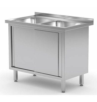 CHRselect Table Evier | INOX | 2 Eviers 400x400x250(h) | 2 Portes Coulissantes | Rebord | (l)1000mm | 600mm(p)